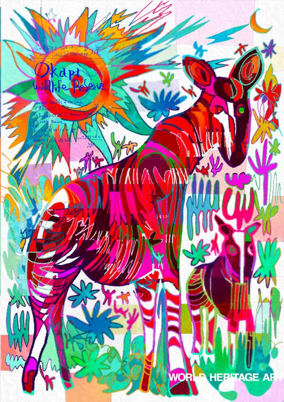 0718_ オカピ野生動物保護区_ コンゴ 民主共和国_ Okapi Wildlife Reserve_ Democratic Republic of the Congo | 1996年登録の世界遺産の絵 | 松田光一