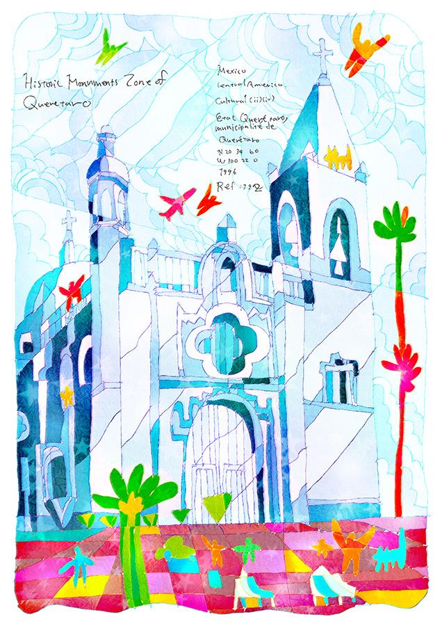 0708_ ケレタロの歴史的建造物地区_ メキシコ合衆国_ Historic Monuments Zone of Queretaro_ Mexico | 1996年登録の世界遺産の絵 | 松田光一