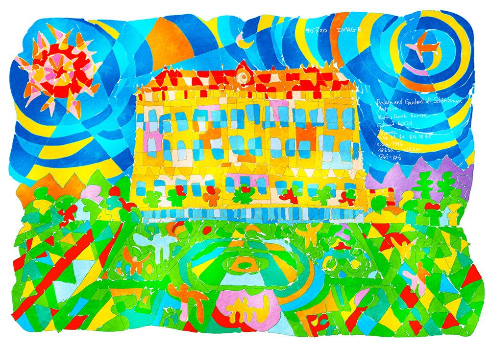 0720_ シェーンブルン宮殿と庭園_ オー ストリア共和国_ Palace and Gardens of Schönbrunn_ Austria | 1996年登録の世界遺産の絵 | 松田光一