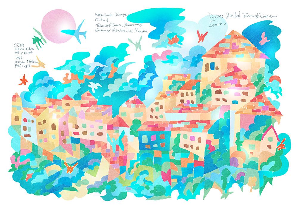 0714_ 要塞都市クエンカ_ スペイン_ Historic Walled Town of Cuenca_ Spain | 1996年登録の世界遺産の絵 | 松田光一