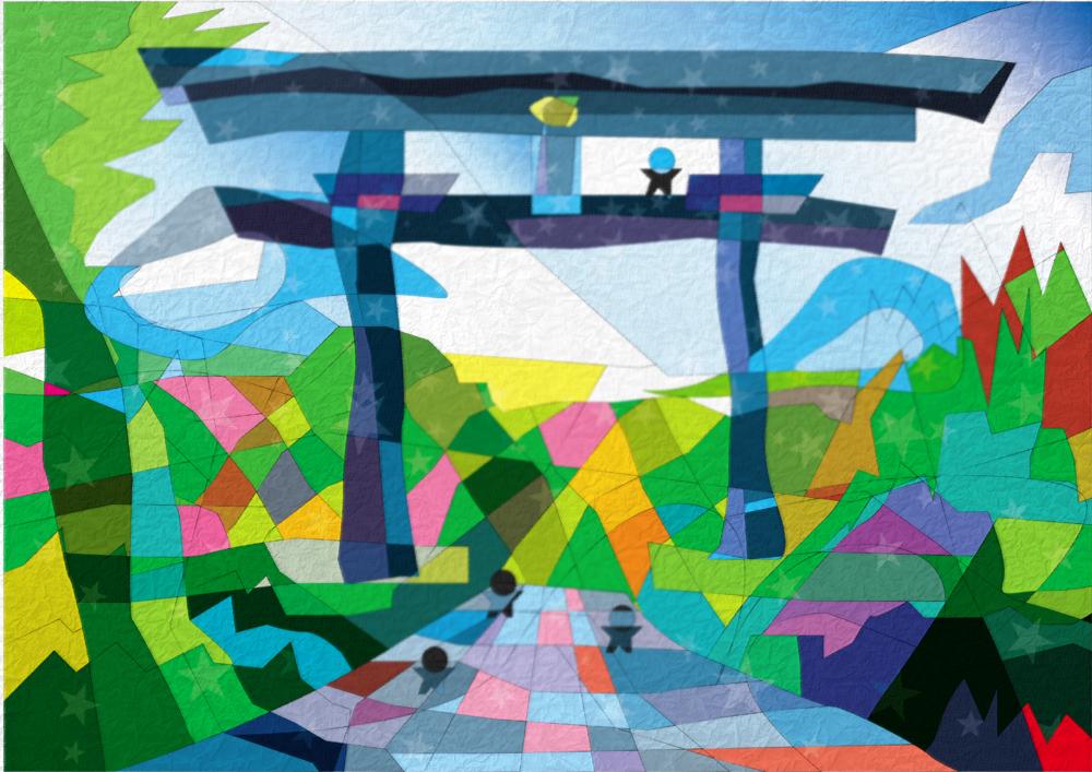 熊野本宮の大斎原   紀伊山地の霊場と参詣道   世界遺産の絵より   松田光一 世界遺産アート