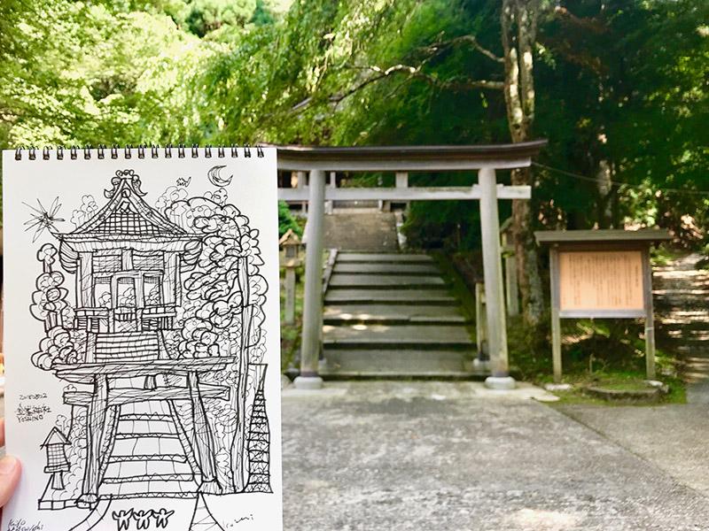 金峯神社 ドローイング 2018   紀伊山地の霊場と参詣道   松田光一   日本の世界遺産旅より